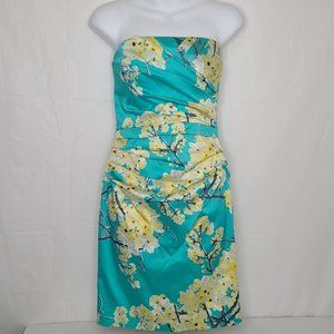 Le Chateau Silk Strapless Turquoise Floral Dress